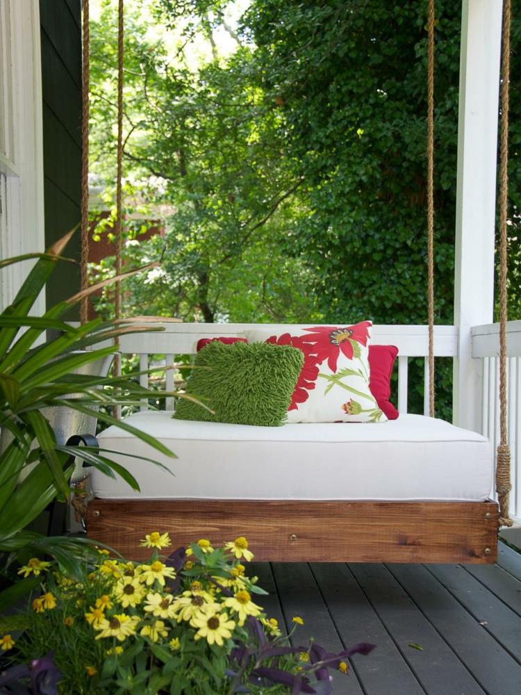 decoracion de terrazas y jardines faroles sillones columpio