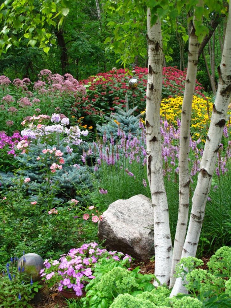 decoracion de terrazas y jardines rocas plantas lineas