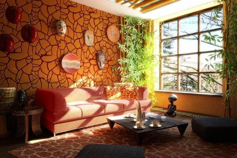 decoracion etnica pared salon naranja
