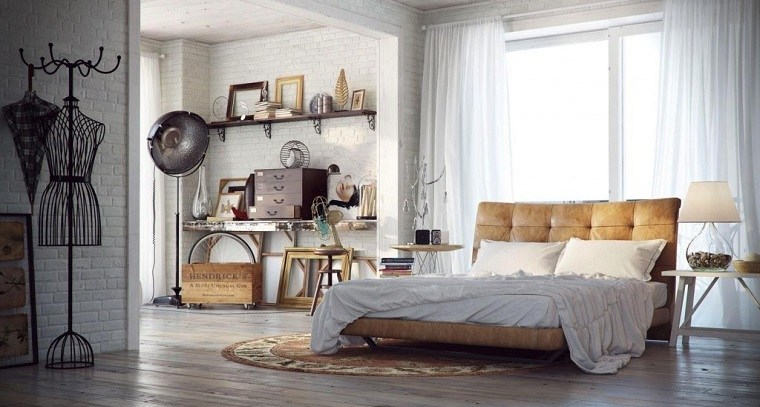 decoracion industrial cama cuero dormitorio ideas