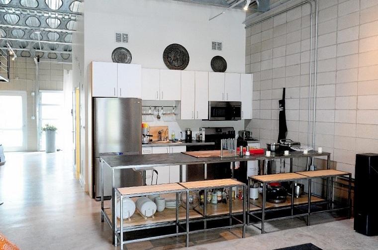 industrial cocina bancos mesa acero ideas