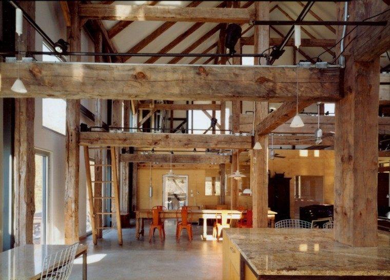industrial loft columnas madera ideas