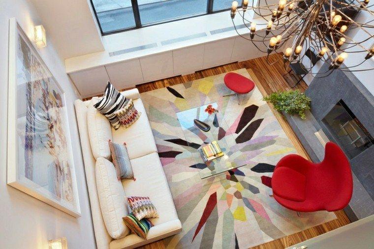 decoracion interiores salones alfombra colores chimenea ideas