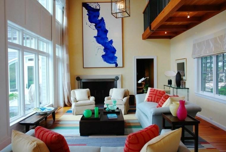 decoracion interiores salones cuadro azul cojines ideas