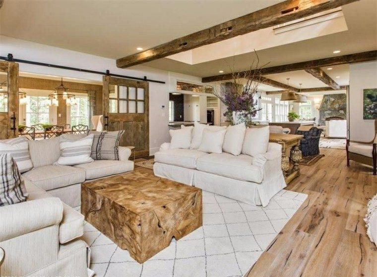 decoracion interiores salones mesa madera original ideas