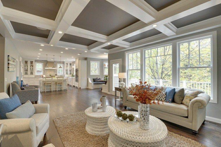decoracion interiores salones mesitas blancas ventanas ideas