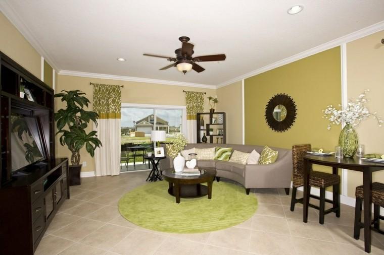 decoracion interiores salones pared verde ideas