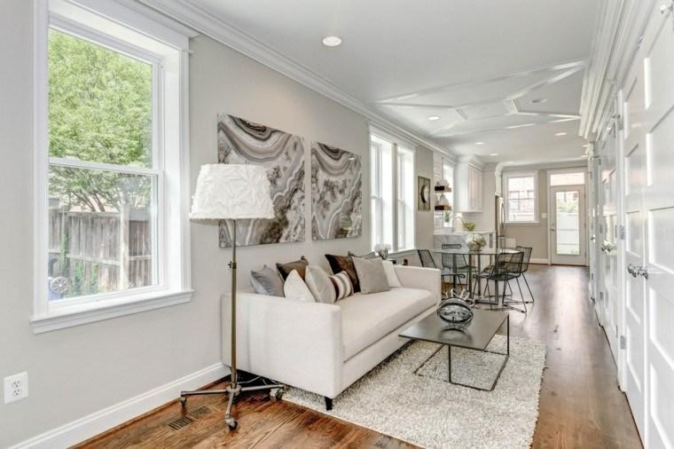 decoracion interiores salones sofa blanca cuadros ideas