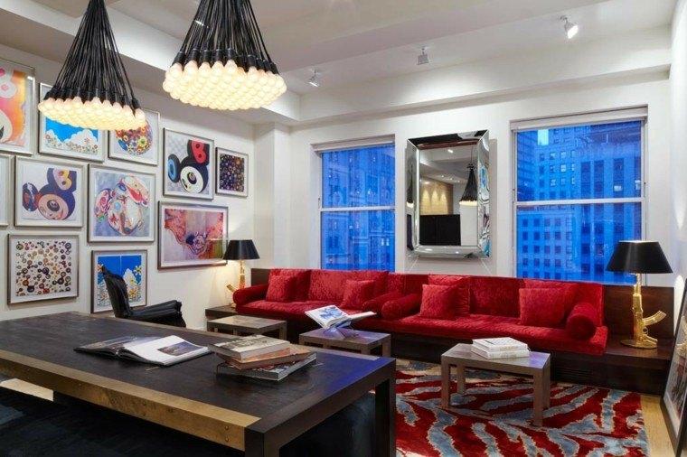 decoracion interiores salones sofa grande roja ideas