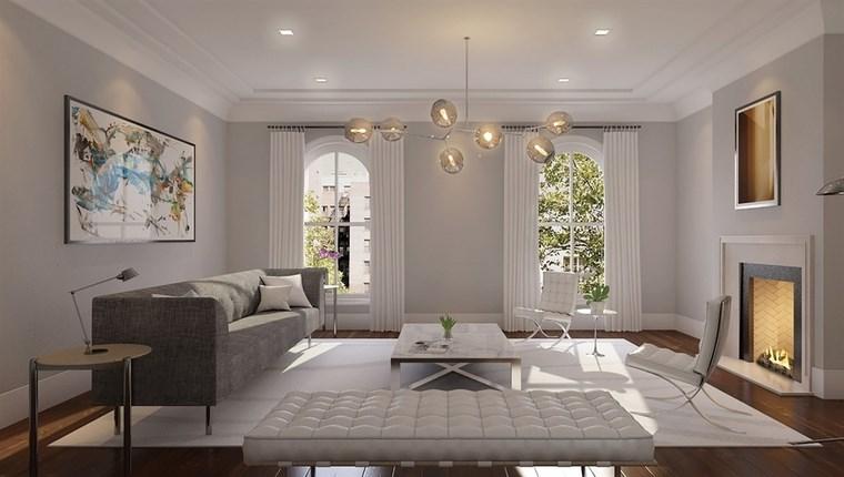 decoracion salones modernos banco blanco ideas