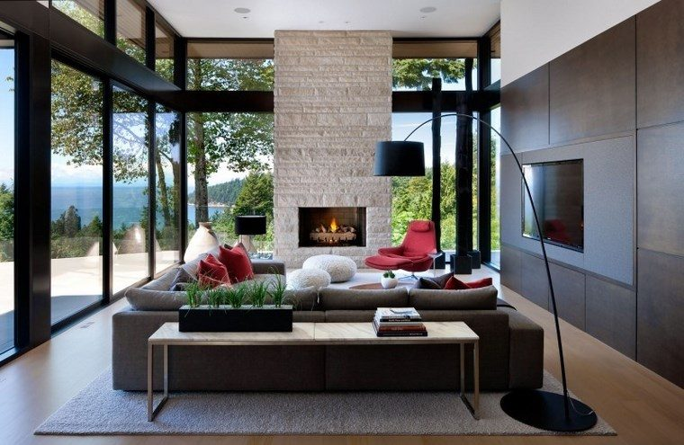 decoracion salones modernos chimenea mesa ideas