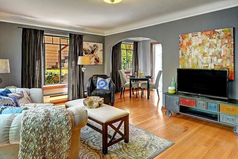 decoracion salones modernos mueble televisor colorido ideas