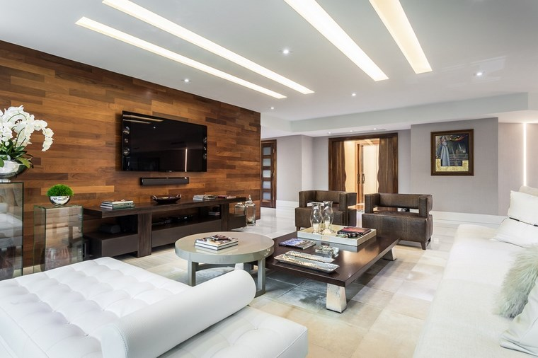 decoracion salones modernos pared madera ideas