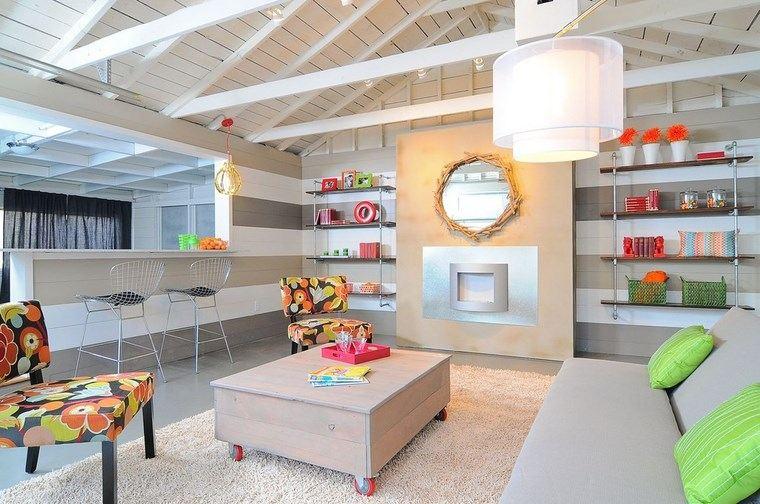 decoracion salones modernos toques colores llamativos ideas