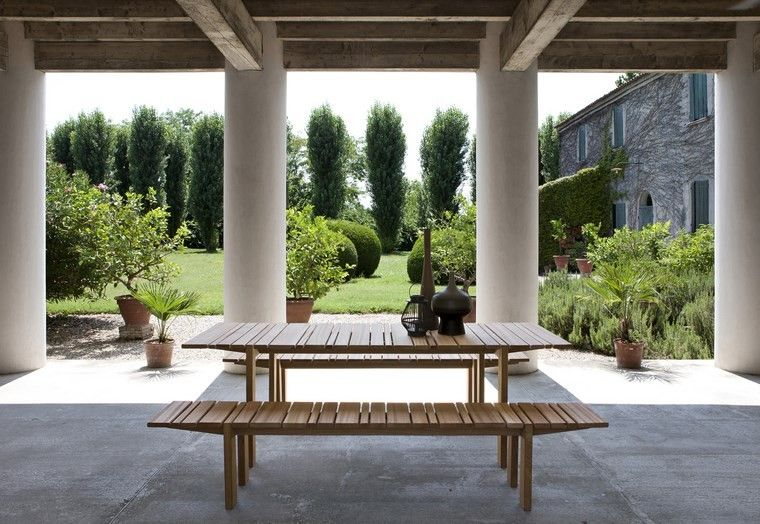 decoracion terrazas mesa bancos madera ideas