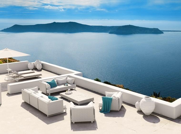 decoracion terrazas muebles blancos ideas