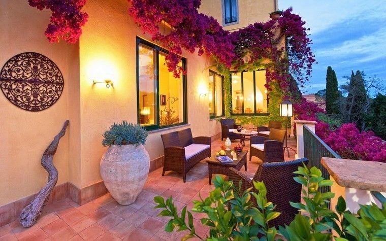 decoracion terrazas pequeñas maceta grande plantas ideas