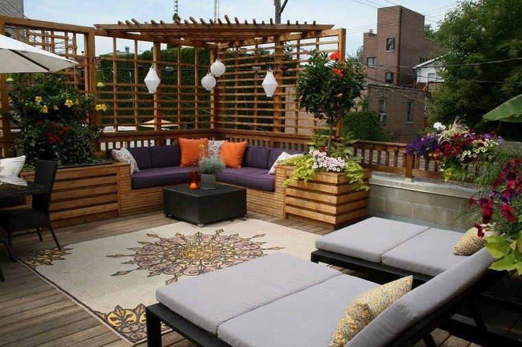 decoracion terraza pequeña pergola macetas flores ideas