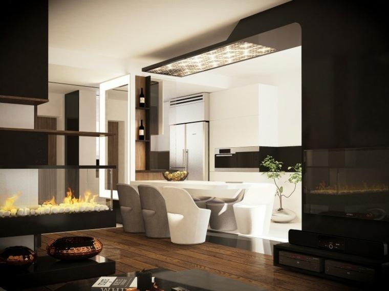 decoraciones cocinas sensillas fuego sillas blancas ideas