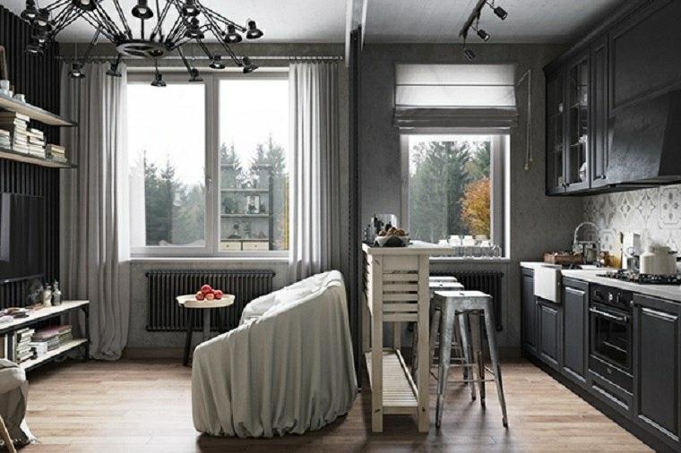 decoraciones cocinas sensillas lampara negra preciosa ideas