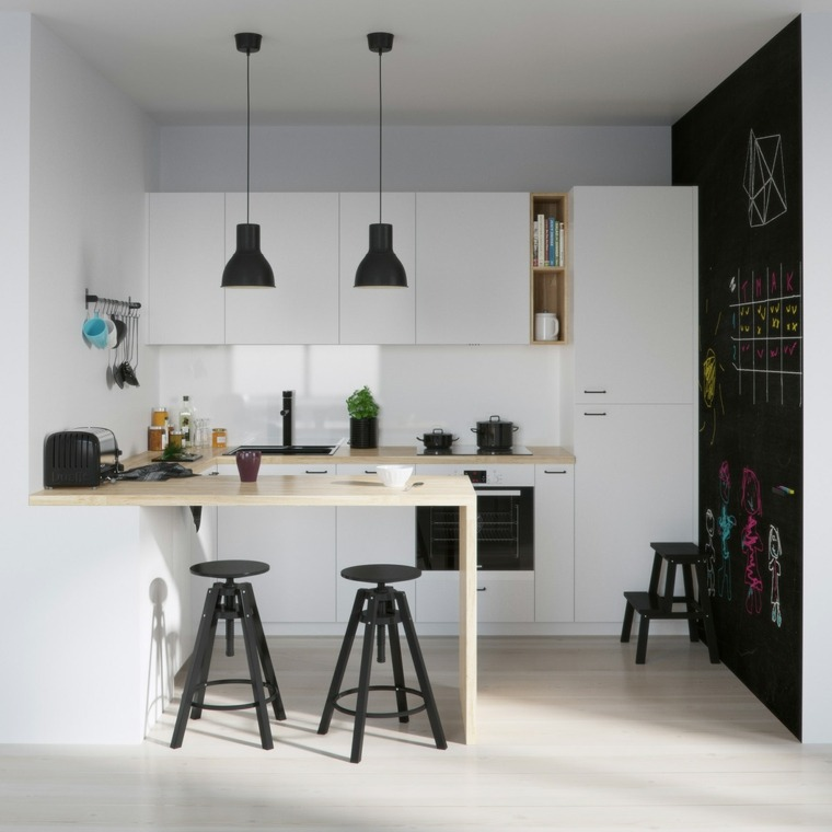 decoraciones cocinas sensillas madera taburetes blancos ideas