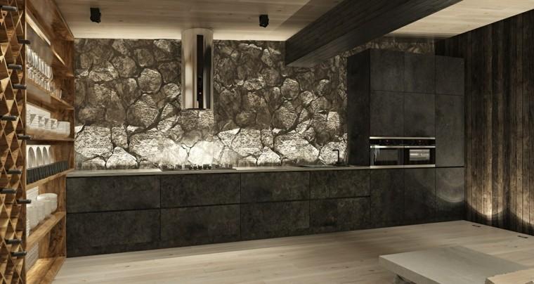 decoraciones cocinas sensillas pared piedra ideas