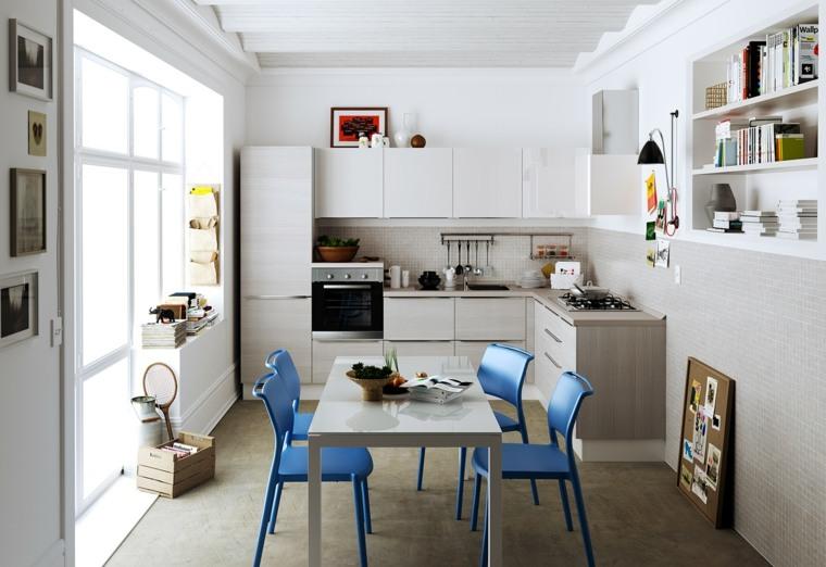decoraciones cocinas sensillas sillas color azul ideas