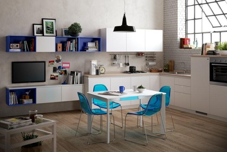 decoraciones cocinas sensillas sillas color verde claro ideas