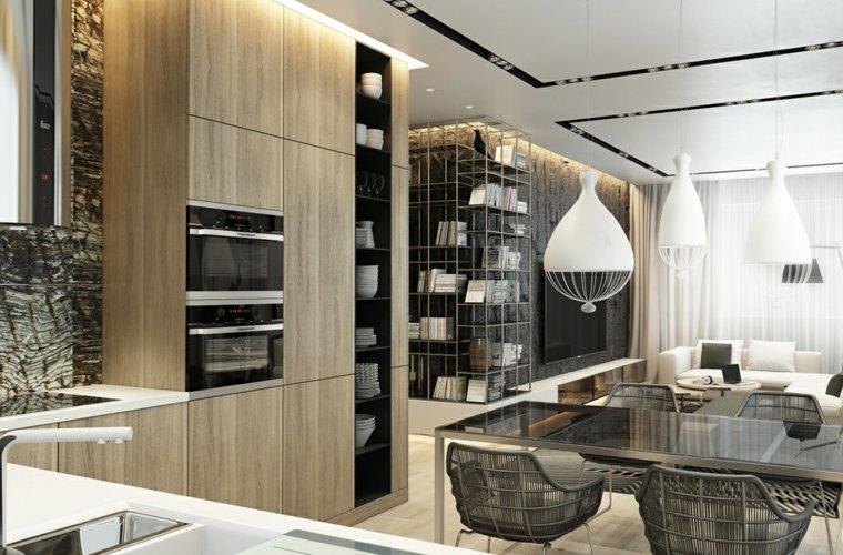 decoraciones de cocinas sencillas lamparas blancas muebles comedor ideas