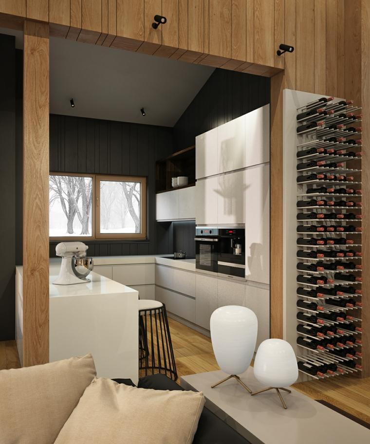 decoraciones de cocinas sencillas lugar botellas vino ideas