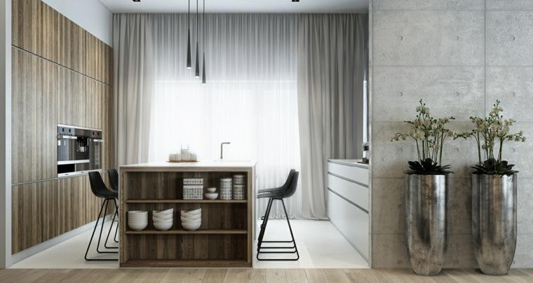 decoraciones de cocinas sencillas macetas plata brillantes ideas