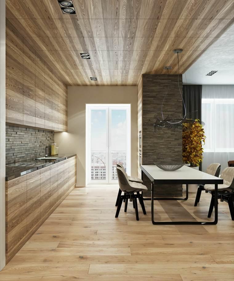 decoraciones de cocinas sencillas madera natural ideas