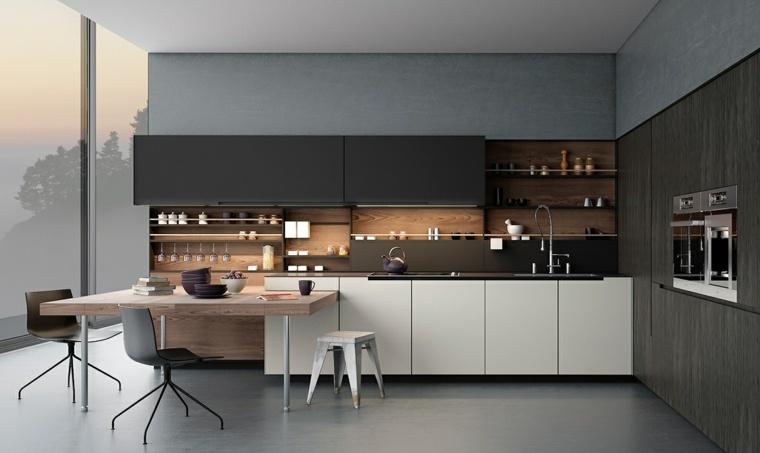 decoraciones de cocinas sencillas muebles blanco negro ideas