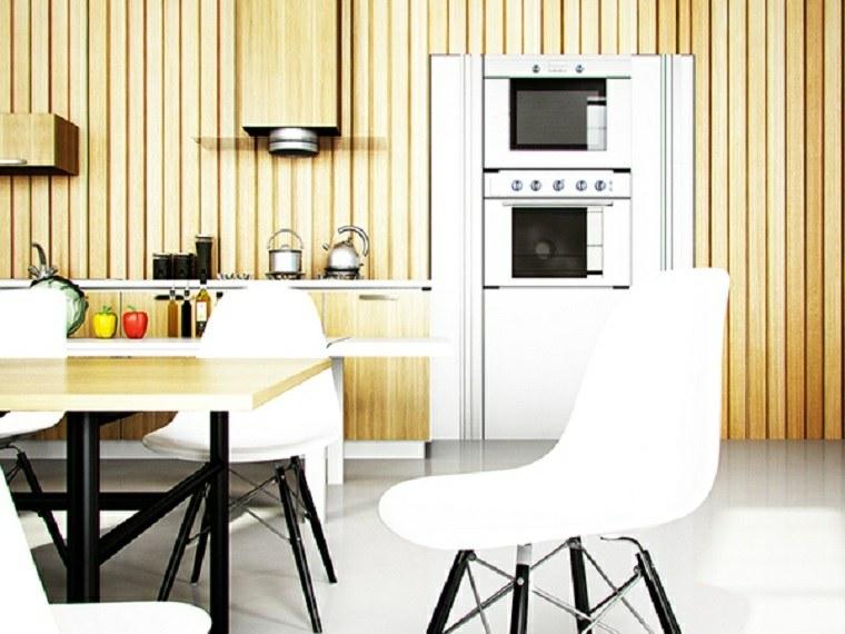 decoraciones de cocinas sencillas pared madera ideas