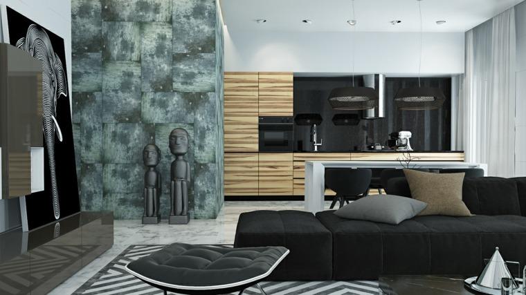 decoraciones de cocinas sencillas pared negra brillante ideas