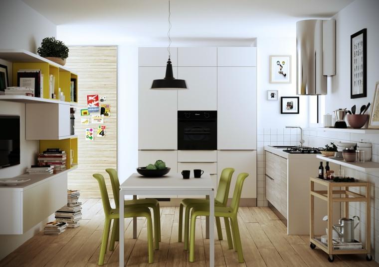 decoraciones cocinas sensillas sillas verdes preciosas ideas