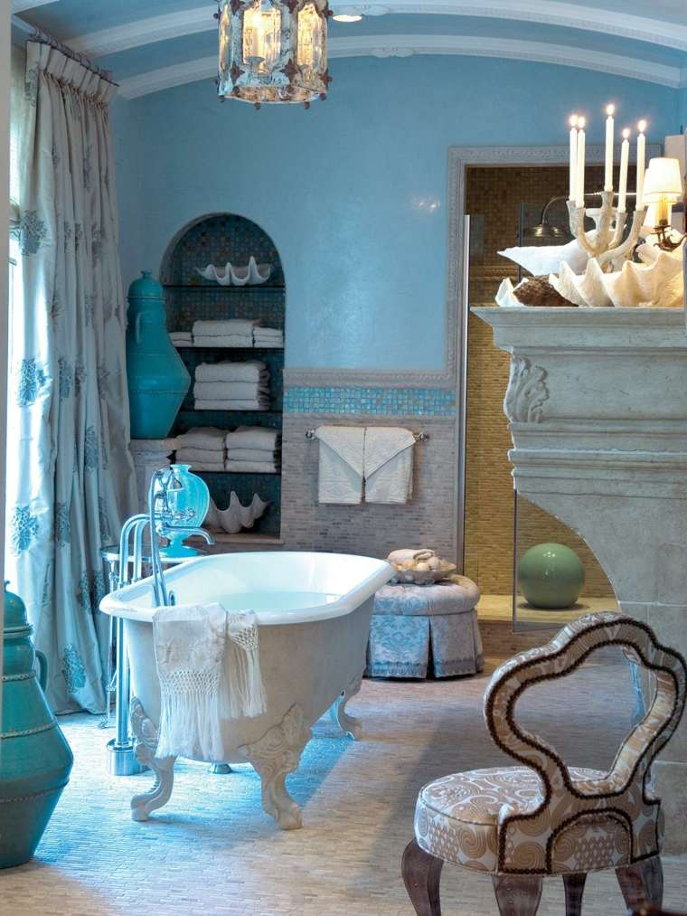 decoraciones de cuartos de baño azules clasico lamparas