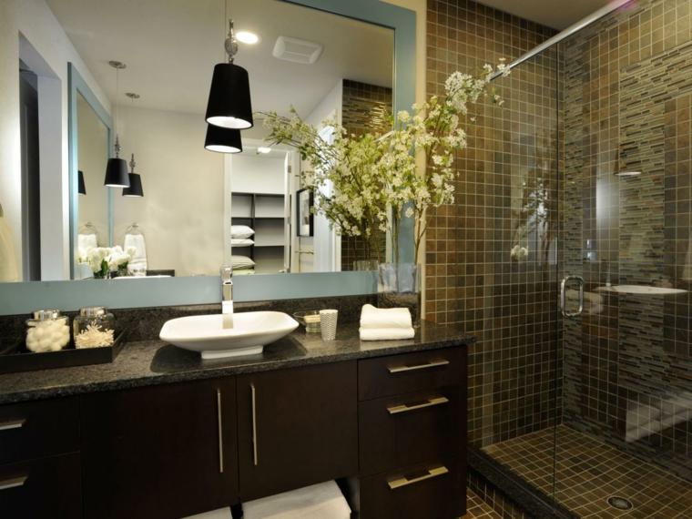 decoraciones de cuartos de baño cristales plantas