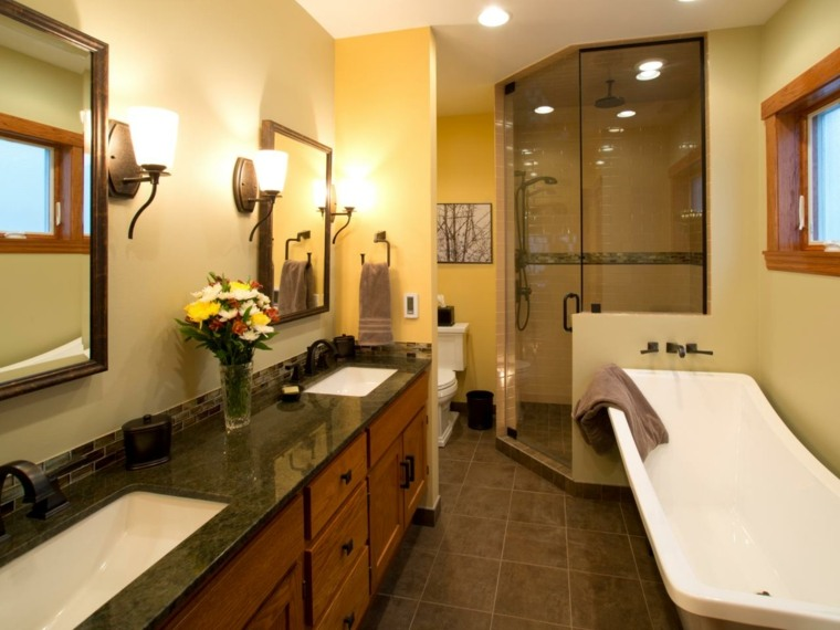 decoraciones de cuartos de baño pequeño maderas rojo