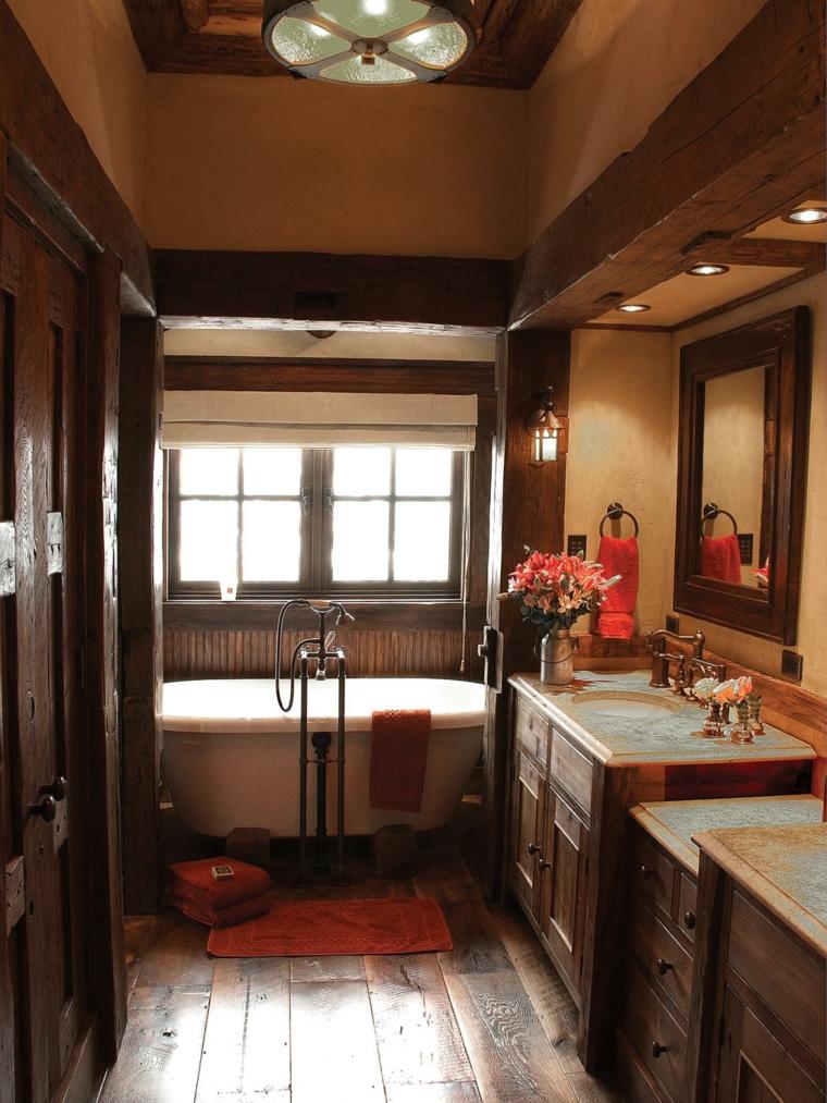 decoraciones de cuartos de baño rojo rustico flores