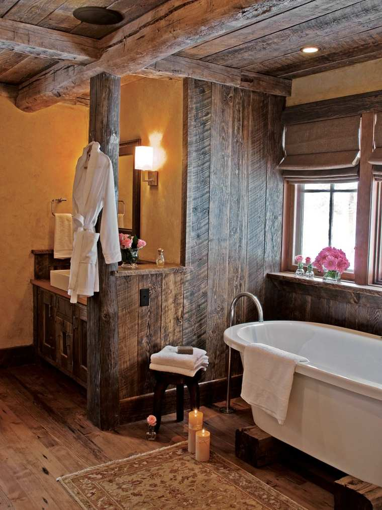 decoraciones de cuartos de baño rustico calido