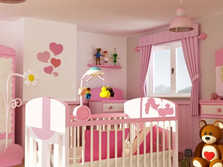 decorar habitacion bebe corazones pared rosa ideas