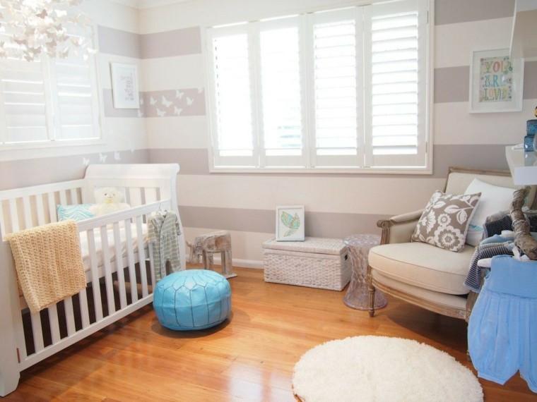 decora habitacion bebe pared rayas ideas