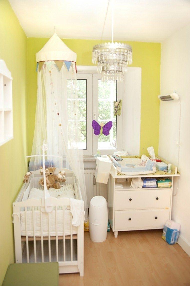 decora habitacion bebe paredes amarillas cama dosel ideas