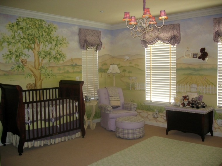 decora habitacion bebe pinturas papel pared ideas