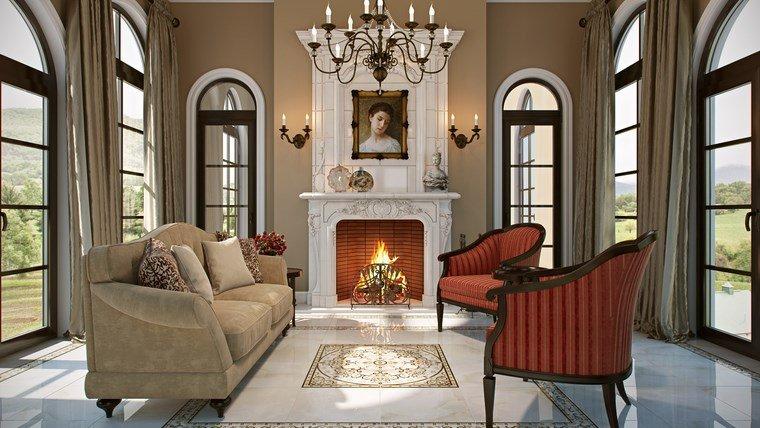 Salon clasico moderno saln clsico con chimenea saln - Salon pequeno moderno ...