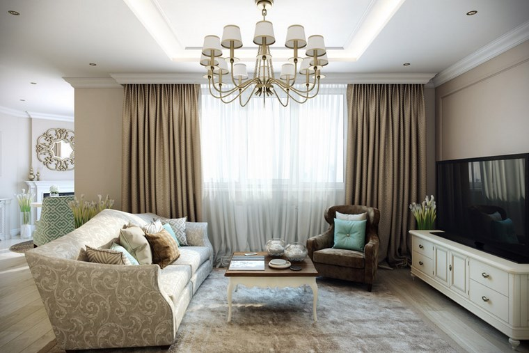 Decorar salon peque o con estilo y modernidad - Cortinas salon ideas ...