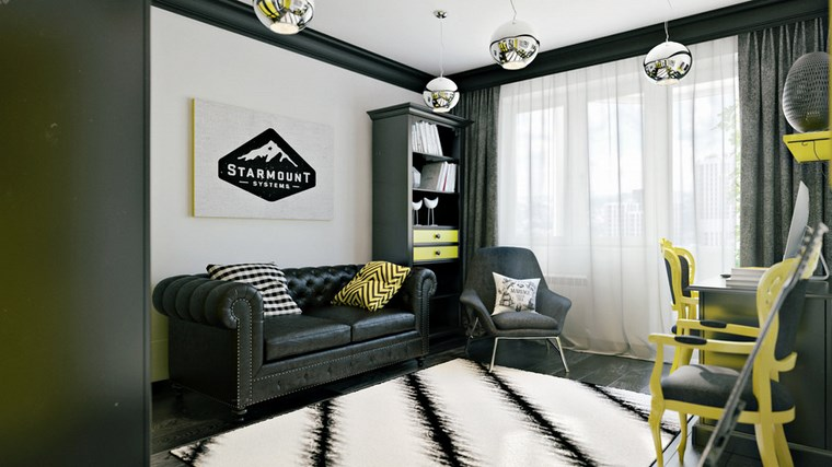 decorar salon pequeno moderno sofa negra ideas
