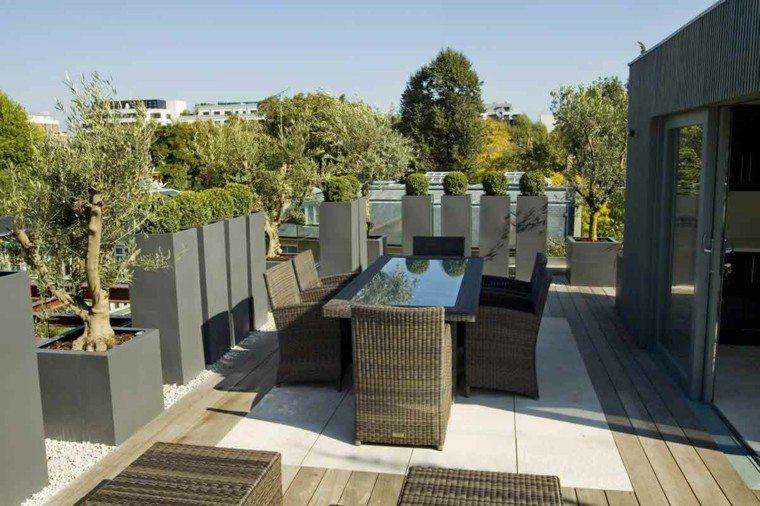 decorar terrazas conjunto muebles ratán