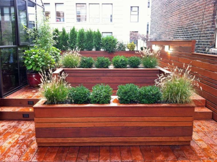 decorar terrazas urbanas ladrillos muro jardineras